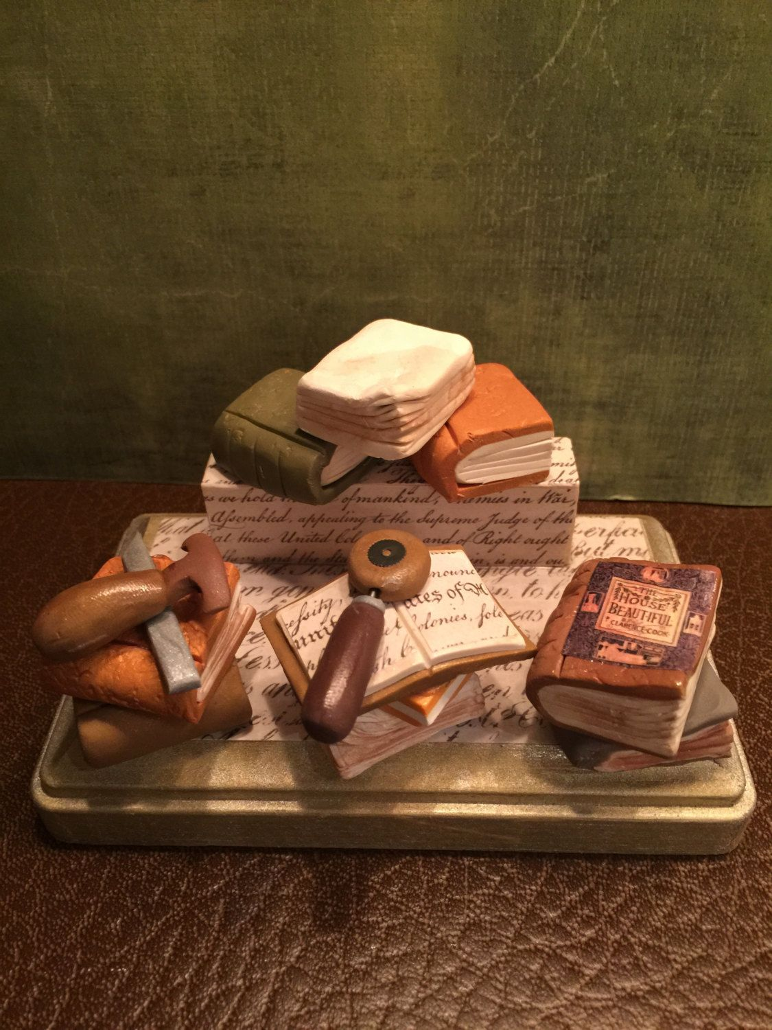 Polymer clay business card holder for someone who restores old book ...