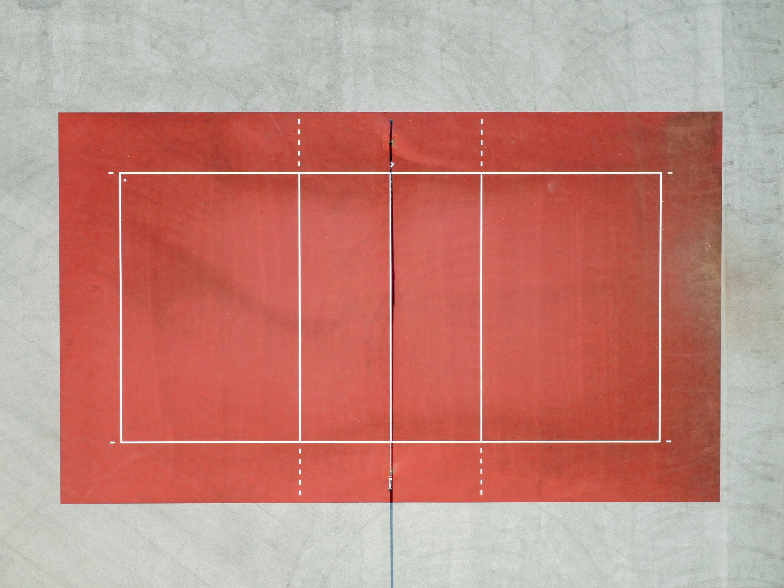 A Drone Shot Of A Red Tennis Court Volleyball Wall Murals Composition Photography