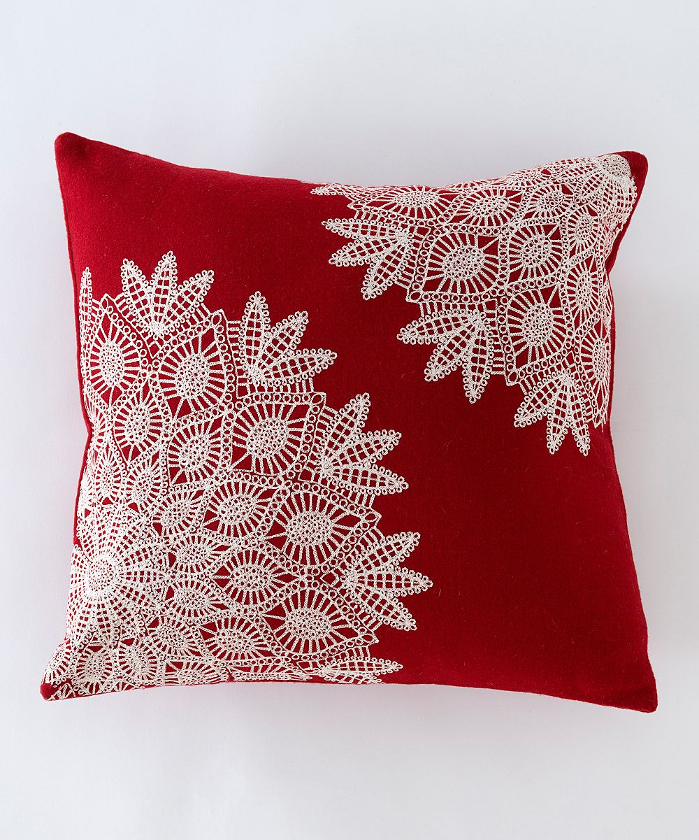red white lace pillow crochet cozy pinterest kissen kissenbez ge und polster. Black Bedroom Furniture Sets. Home Design Ideas