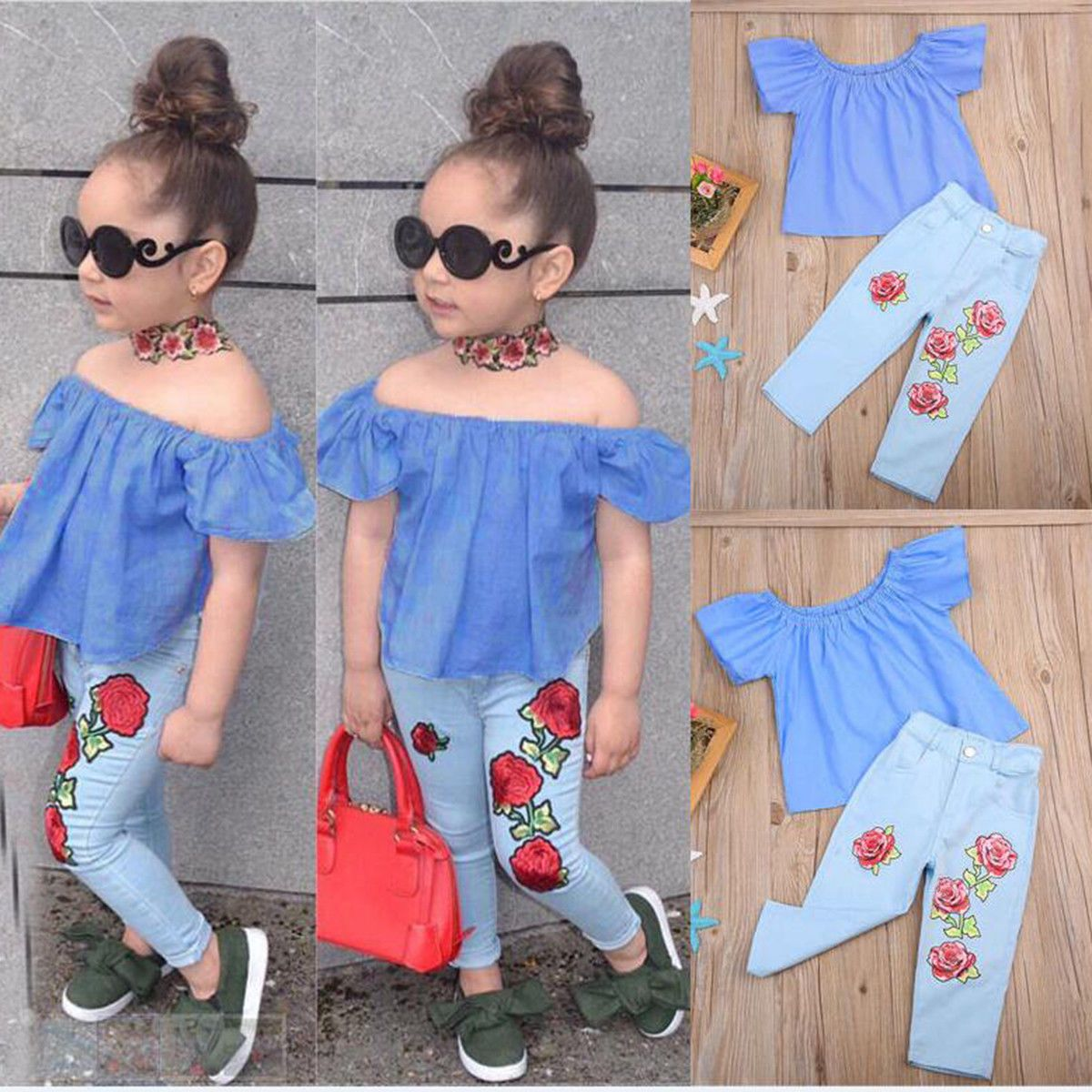 2PCS Mother /& Daughter Sequin Rose Blouse Tops+Pants Set Clothes Sport Outfits