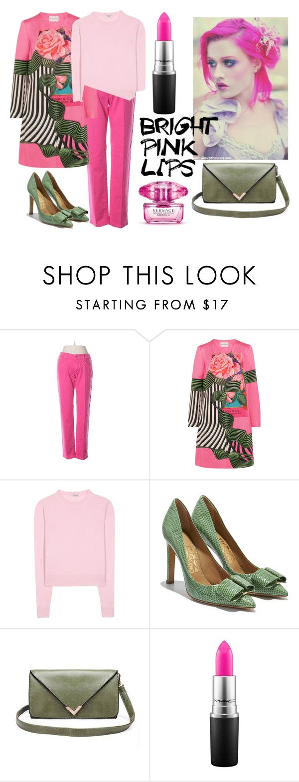 """#pinklips"" by giulia-sicilia ❤ liked on Polyvore featuring beauty, McQ by Alexander McQueen, Mary Katrantzou, Miu Miu, Salvatore Ferragamo, MAC Cosmetics, Versace and pinklips"