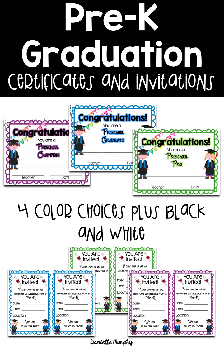 prek or preschool graduation certificates diplomas and invitations