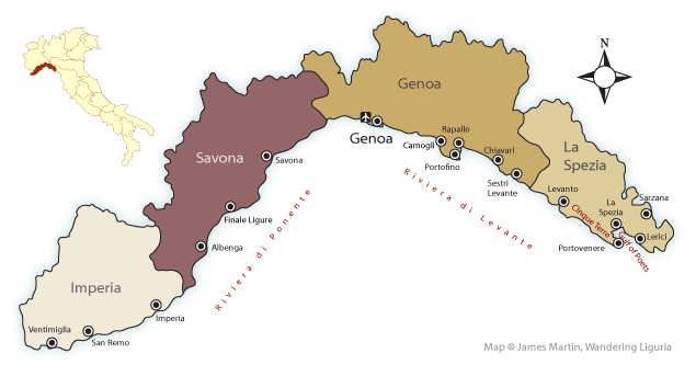 Map of Liguria showing provinces and main tourist cities and