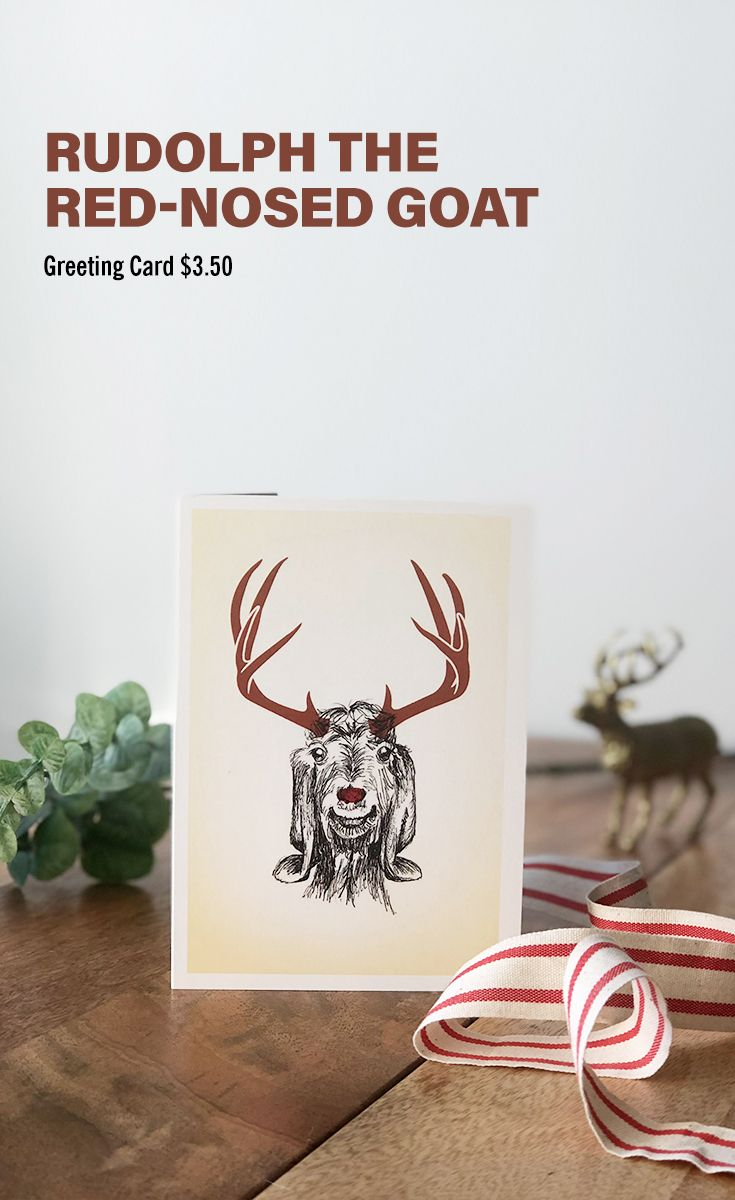 Christmas card, Rudolph the Red-Nosed Goat | Silla Rojo | Pinterest