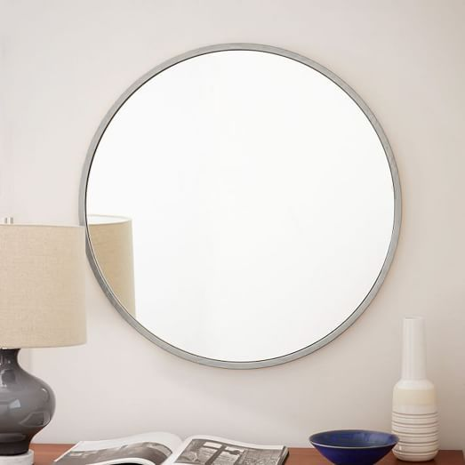 Framed Bathroom Mirrors Brushed Nickel metal framed round wall mirror - brushed nickel from west elm for