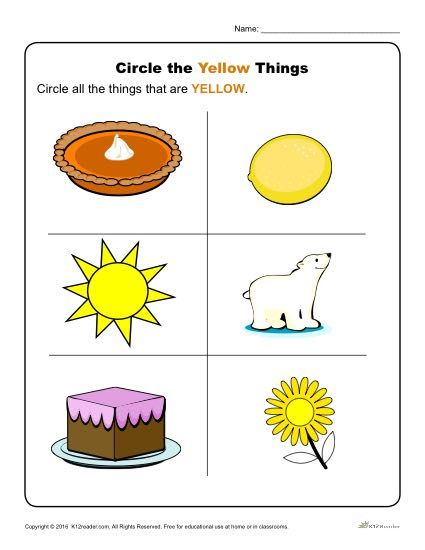 circle the yellow things k12 color worksheets for preschool preschool colors toddler. Black Bedroom Furniture Sets. Home Design Ideas