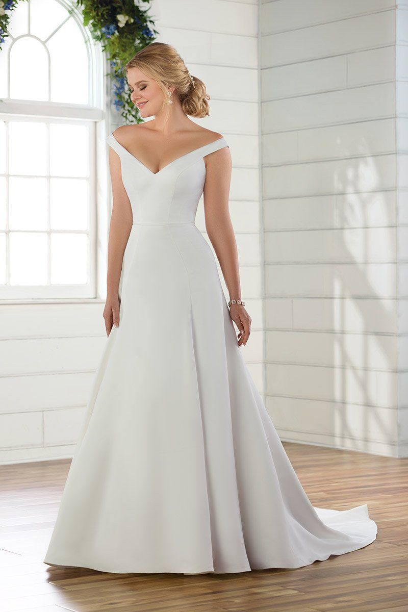 Classic Wedding Dress Idea Off The Shoulder Neckline Style D2750 Find Your Wedding Gown A Line Essense Of Australia Wedding Dresses Wedding Dresses Satin [ 1200 x 800 Pixel ]