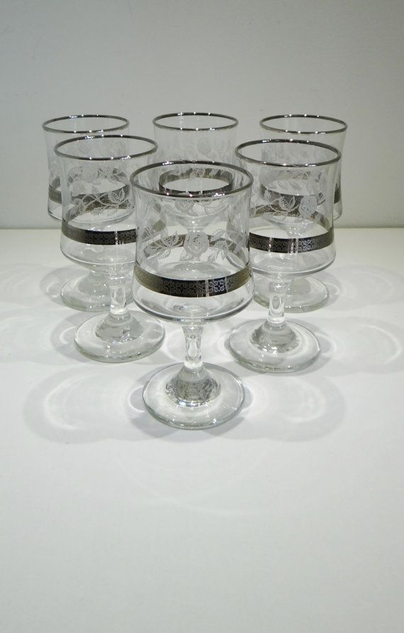 Vintage Set Of Six Murano Silver Rim Etched Wine Glasses