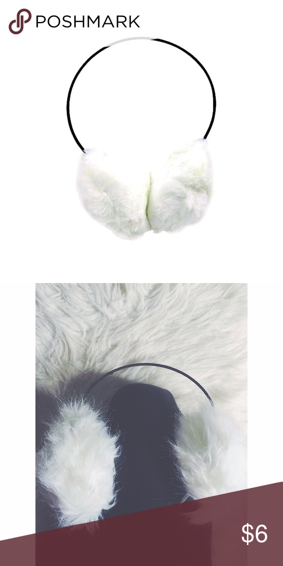 ⛄️ fuzzy earmuffs Onesize, black headband with white fuzzy fur as earmuffs, tiny snag on underneath band part , not noticeable when worn, this is a perfect fashion statement for the winter season ⛄️  ~ I DO NOT SWAP, SO PLEASE DON'T ASK. YOU WILL BE IGNORED.  ~ I NO LONGER HOLD MY ITEMS  ~YOUR PURCHASE WILL BE SHIPPED WITHIN 24-48 HOURS AFTER PURCHASED, FROM THAT POINT ON I CANNOT CONTROL HOW LONG IT WILL TAKE FOR THE SHIPPING SERVICE TO GET IT TO YOU.   ~I AM MORE THAN HAPPY TO MAKE YOU A…