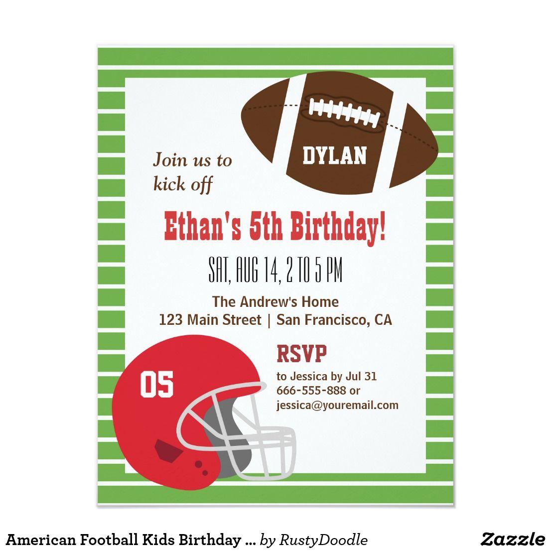 American Football Kids Birthday Party Invitations | Kids birthday ...