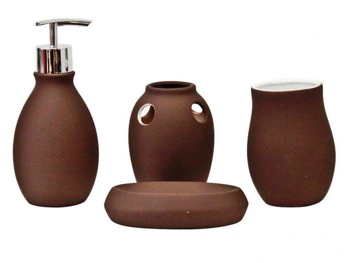 set pour salle de bain 4pcs marron ce set d 39 accessoires