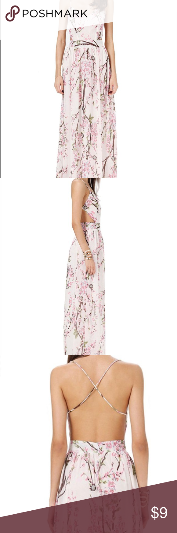 Cherry Blossom Backless Maxi Dress Very Pretty Flowy Maxi Dress, spaghetti strap backless and floral print - super girly and great for summer! Fits like a Small, never worn Sheinside Dresses Maxi