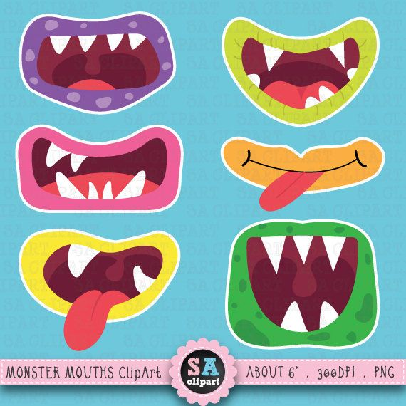 Cute Monster Mouths Monster Mouthsclip Art By Saclipart On Etsy 3 50 Monstruos Infantiles Manualidades Halloween Ninos Manualidades