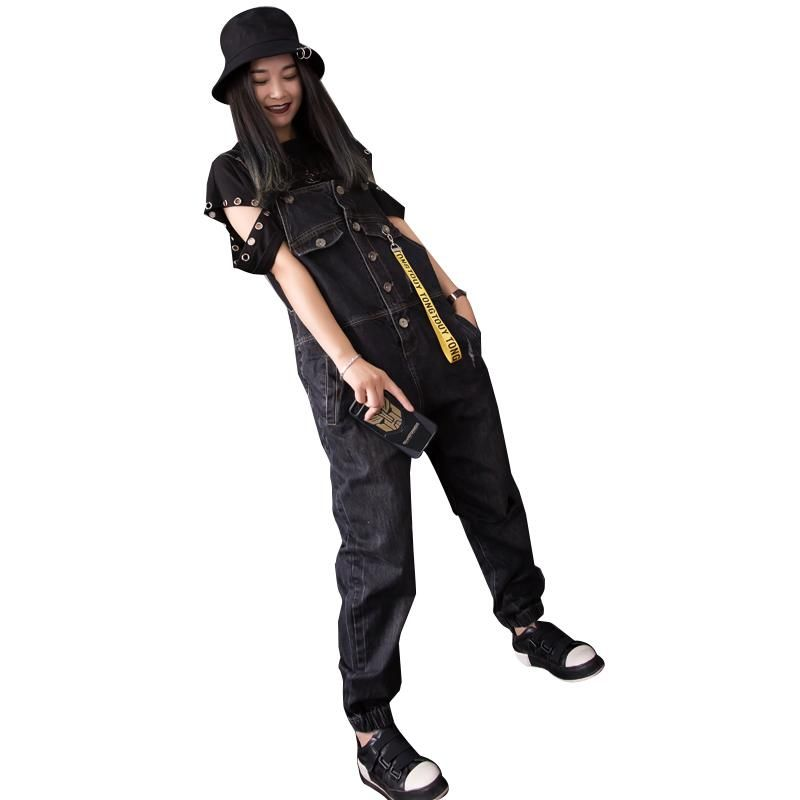 3dd8c4eac6f 2018 new casual hirigin women baggy denim jeans bib full length pinafore  dungaree overall bodysuits jumpsuit