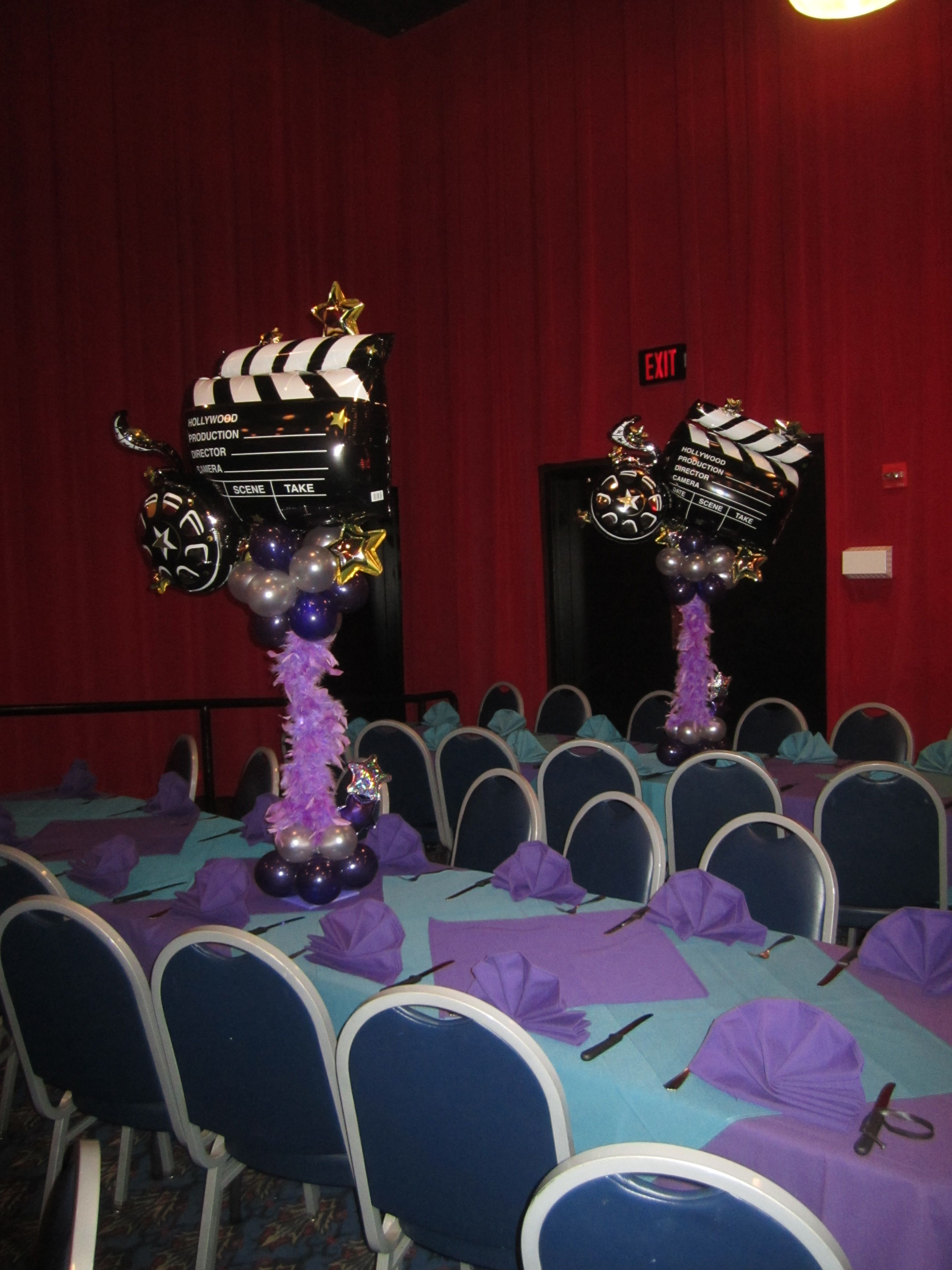 Hollywood Themed Centerpiece Www Elegant Balloons Com
