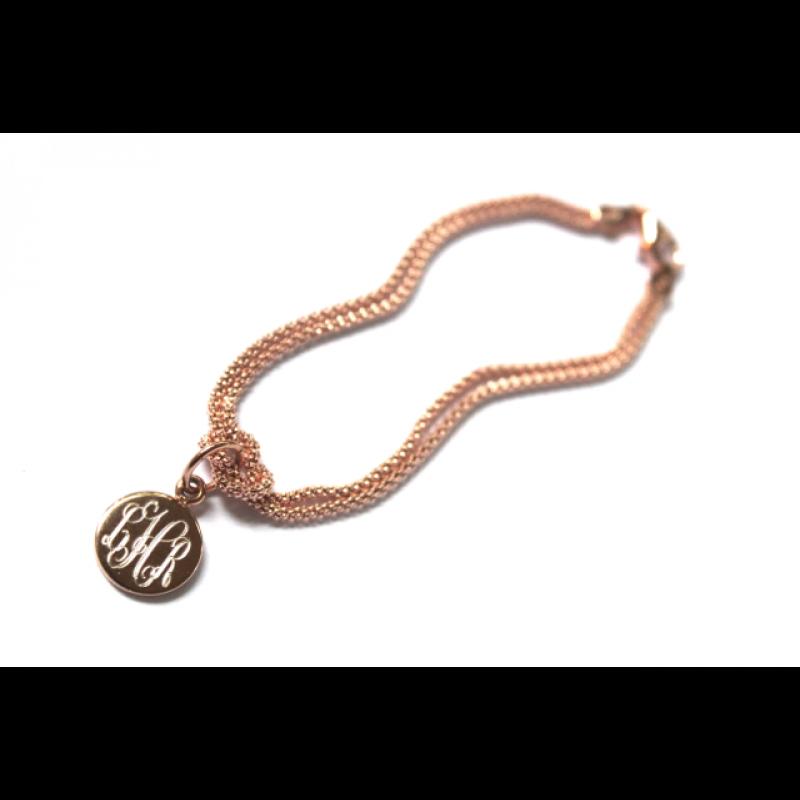 Gold Monogrammed Square Knot Bracelet