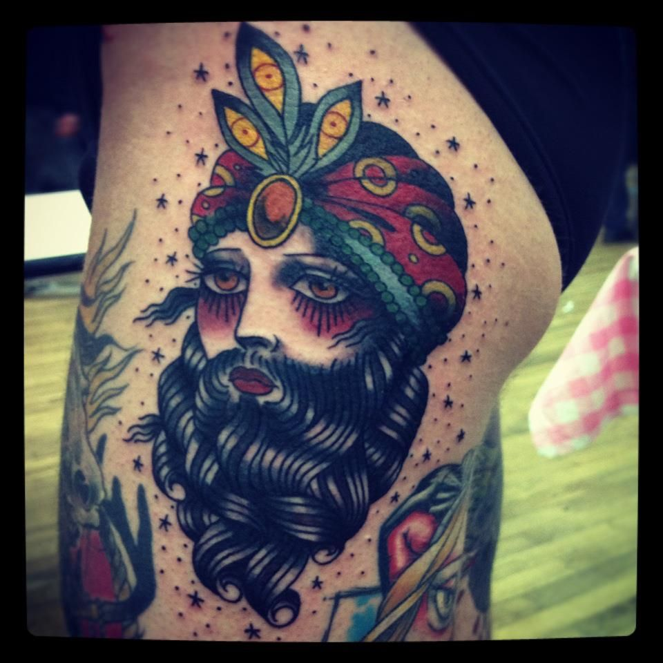 tattoo old school / traditional nautic ink bearded lady