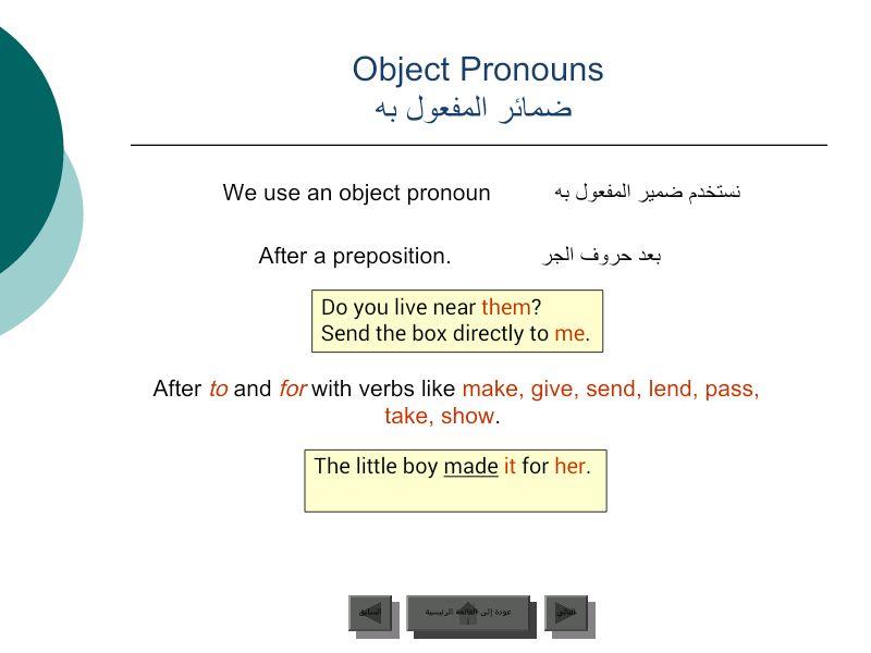ضمائر المفعول به Prepositions Object Pronouns Language