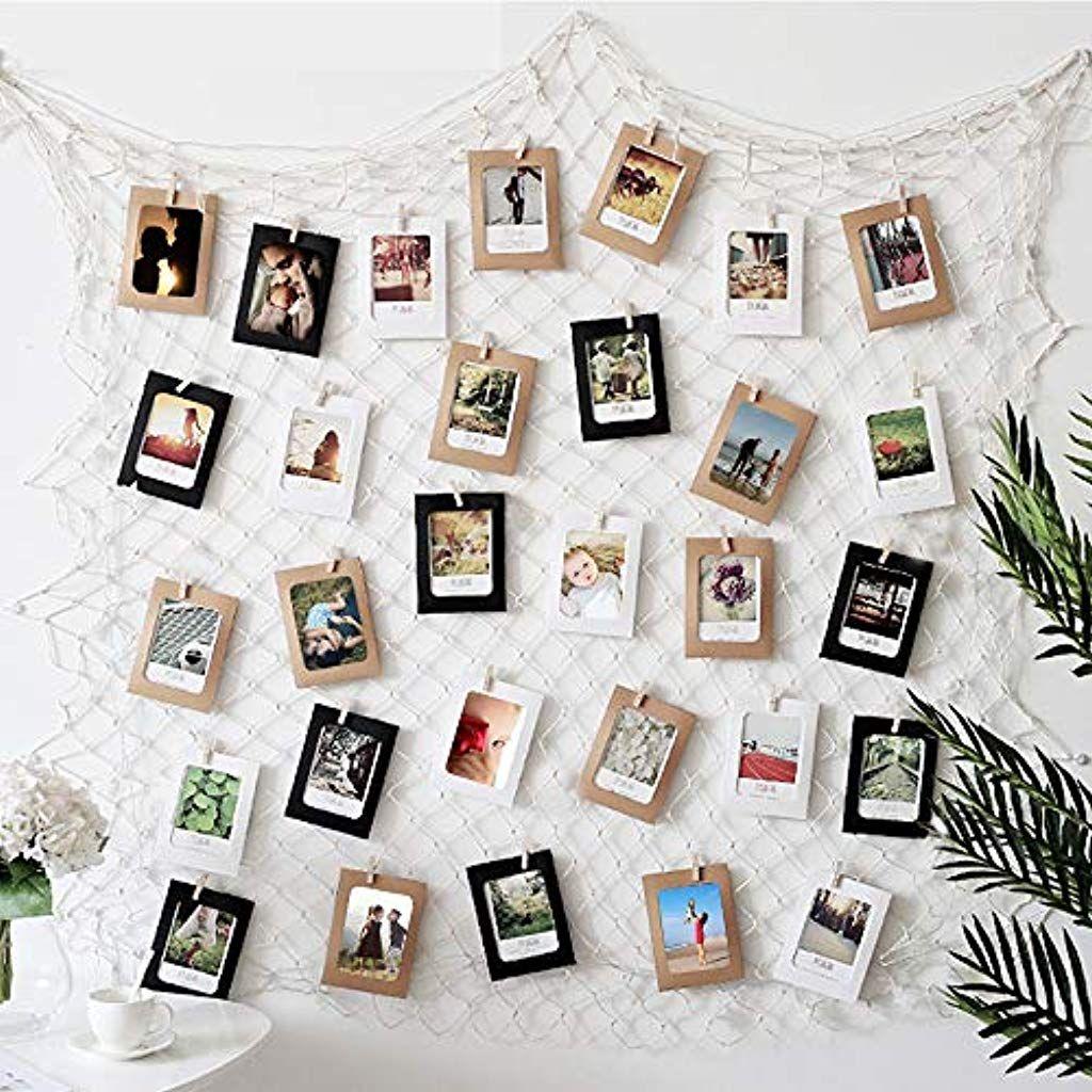 Veesun Fishing Net With 40 Paper Photo Frames Multiple Photos Family Memories Photo Frames For Home Party B Bilderwand Gestalten Fotowand Ideen Fotos Aufhängen