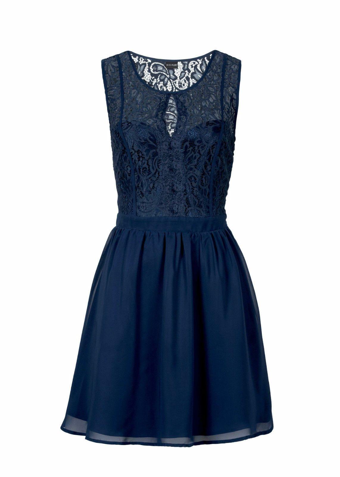 traumhaftes kleid mit spitze in dunkel-blau im super design