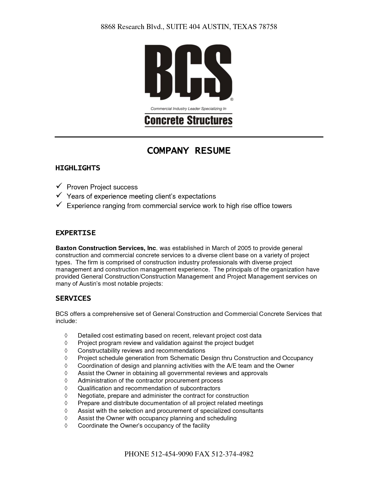 Construction Company Resume Template