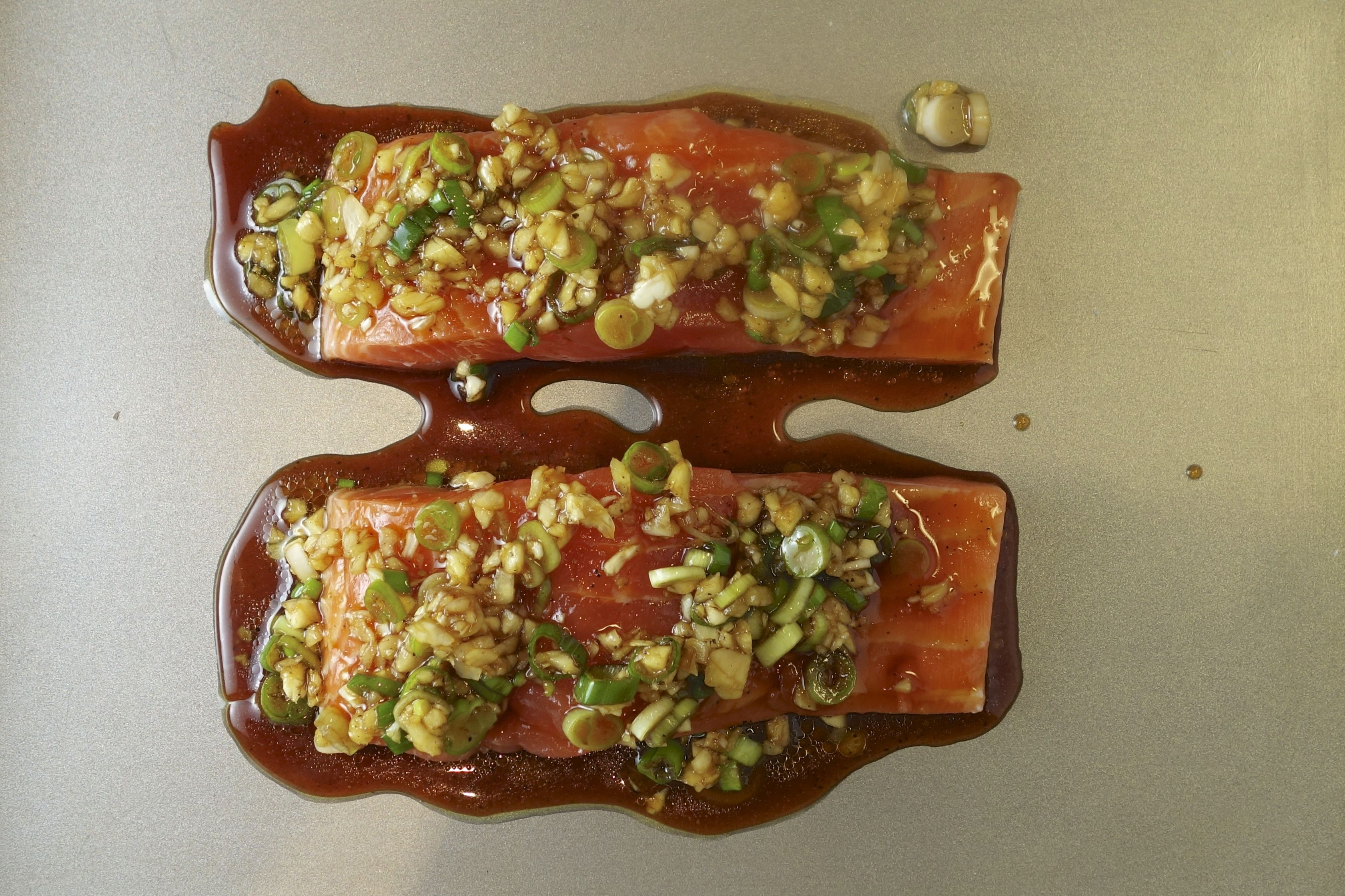 Scallion-and-ginger-crusted salmon