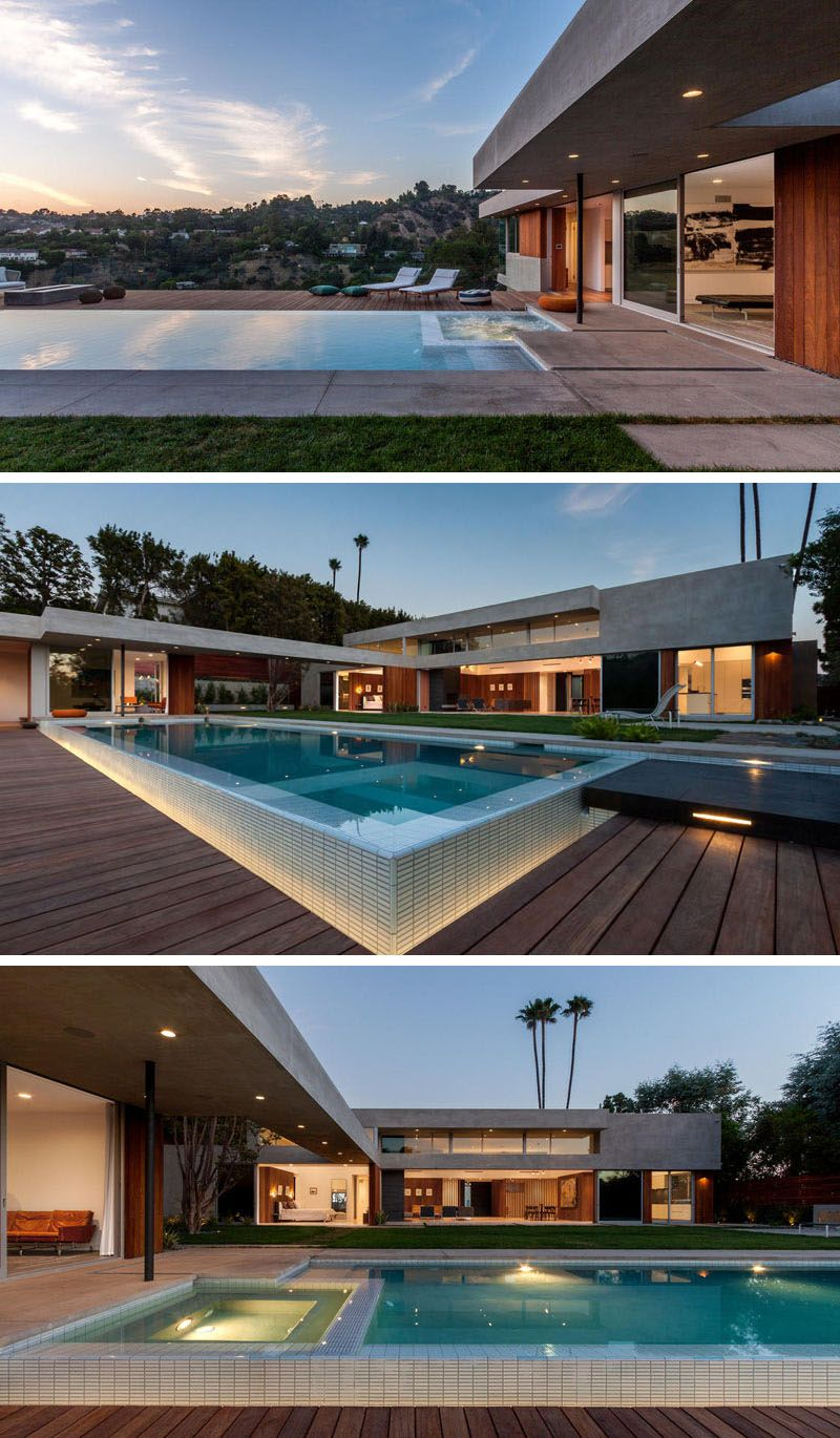 This backyard features a swimming pool with outdoor lounge areas. At ...