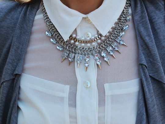 Image result for Collared Button-down Neckline necklace