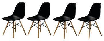 f8c62060c0f Molded Plastic Side Chair Wood Leg Base Black Shell By Lemoderno ...