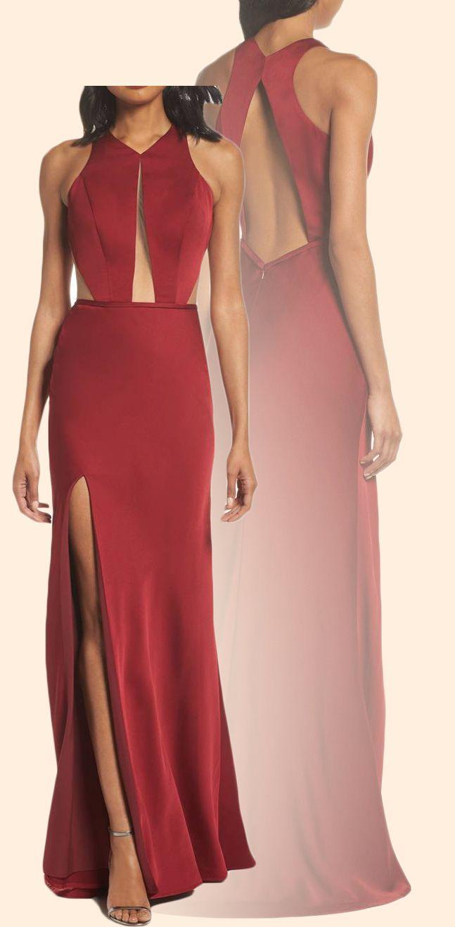 Halter o neck satin long prom dress burgundy formal evening gown