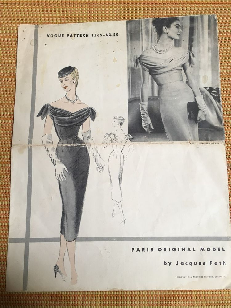 1950s Vogue Sewing Pattern 1265 JACQUES FATH Misses Dress ENVELOPE ...