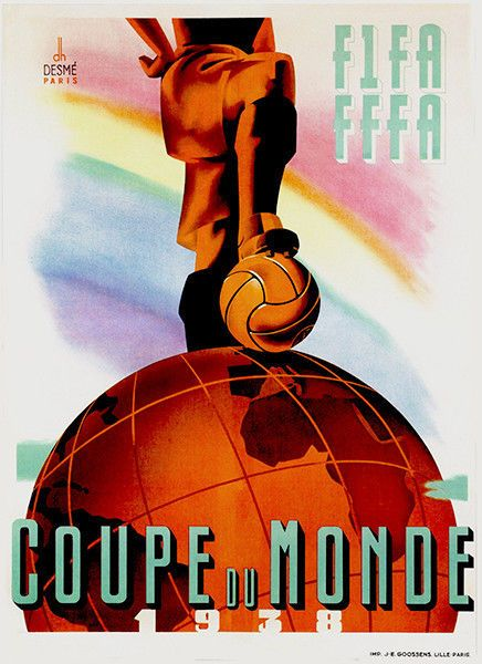 1938 World Cup Promotional Advertising Poster Fifa World Cup France Football Poster Soccer Poster