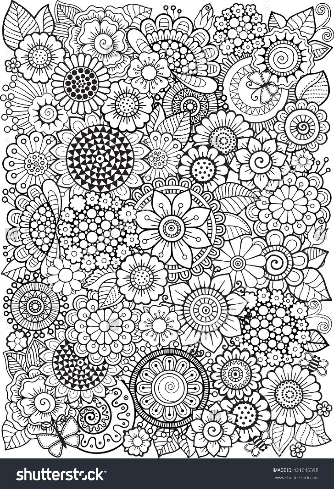 Stress coloring books - Coloring Book Anti Stress For Adults Doodle Elements Decorative Floral