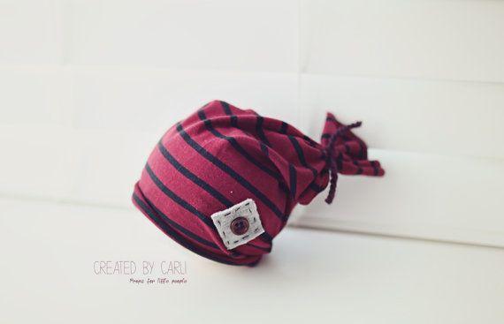 Stripey Knot Hat - Newborn boy