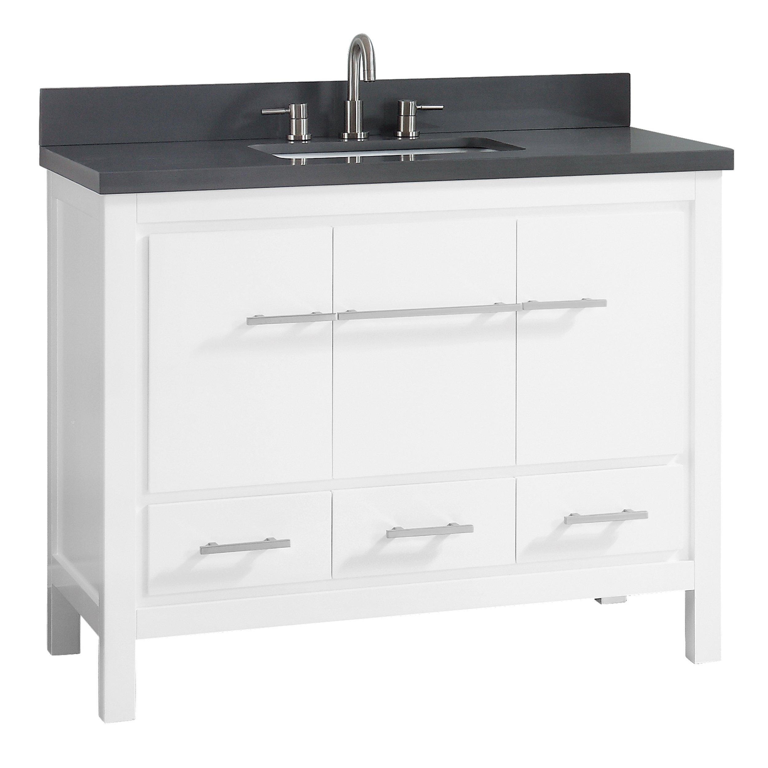 Ryder 43 In White Single Vanity With Gray Quartz Top In 2021 Single Bathroom Vanity Bathroom Vanity Vanity Set