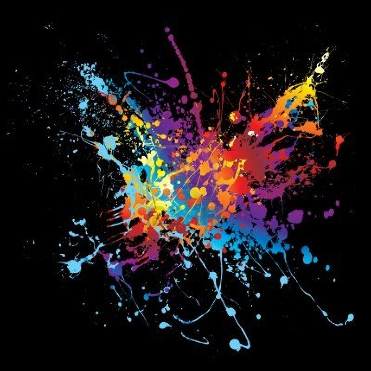 Colourful splat design with black background travel for Acrylic painting on black background
