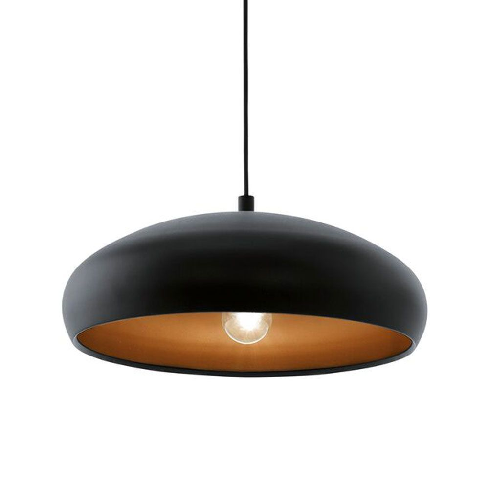Eglo Mogano 1 Pendant Light (94605) with Black Exterior Steel Shade ...