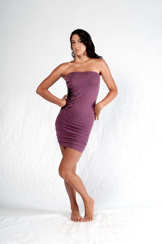 Silk Screen Long Tube Women's Clothing Womens Dress by aurorawear1, $40.00