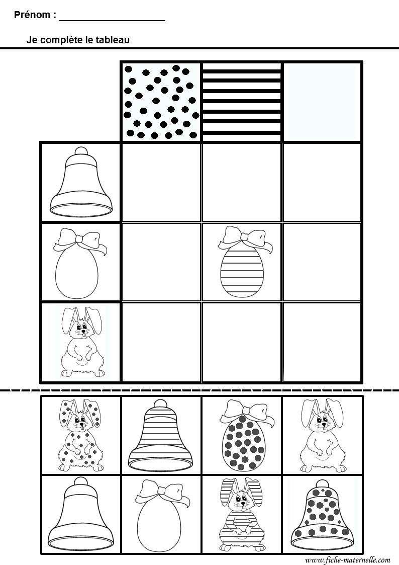Mathématiques Tableau Double Entrees Pour Maternelle Ms Gs Thème