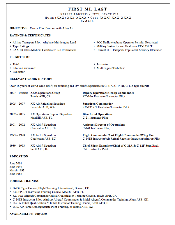 Airline Pilot Resume Sample - http://resumesdesign.com/airline-pilot ...