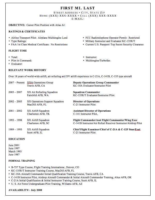 Airline Pilot Resume Sample Free Resume Sample Job Resume Samples Resume Template Cover Letter For Resume