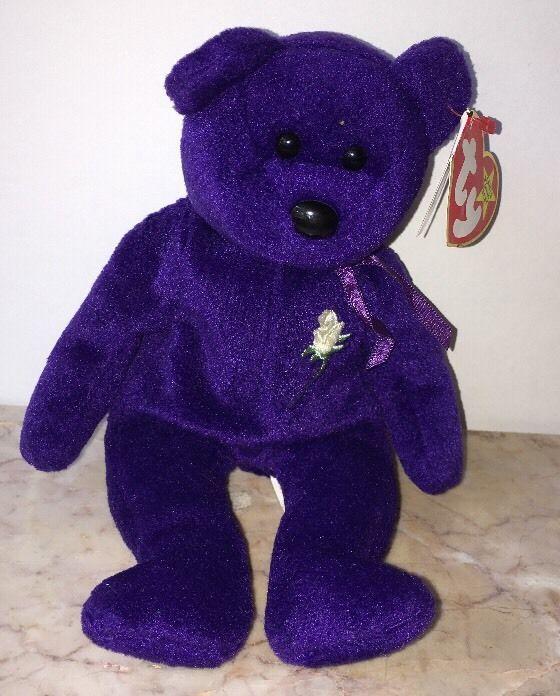1a00e7e38a5 Ty 1997 Beanie Baby Princess Diana Purple Bear No-Space China PE Tags Star