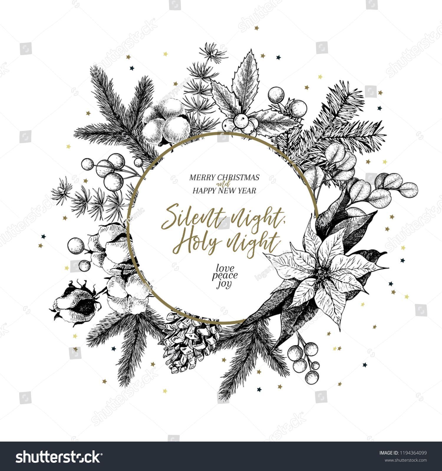 Hand Drawn Christmas Wreath Fir Pine Stock Vector (Royalty