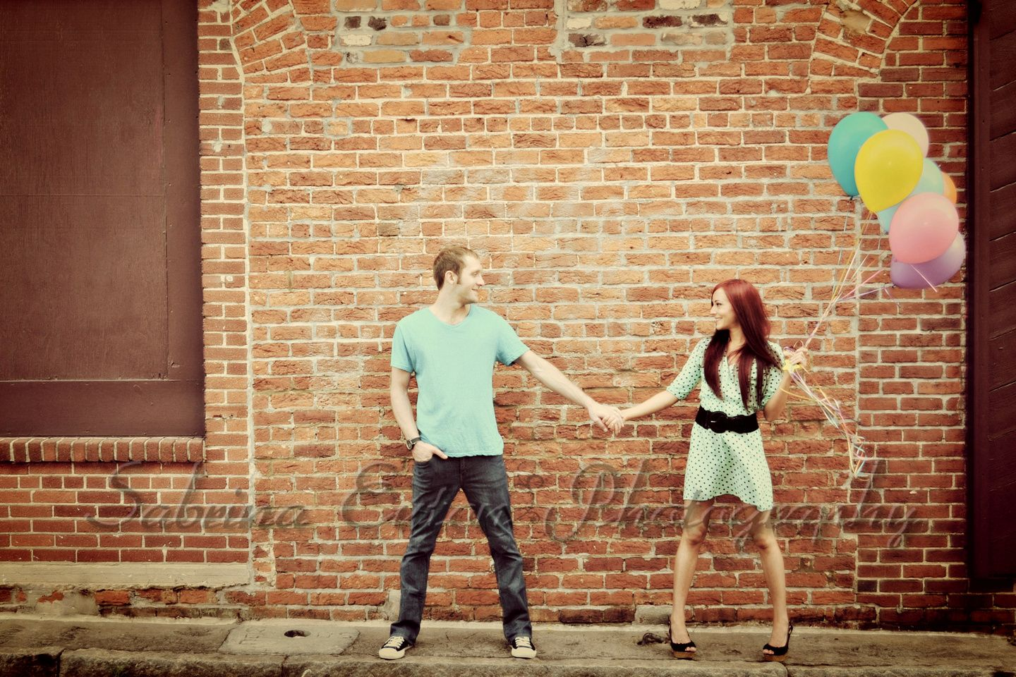 Brick wall + Balloons + Cute Couple = Love engagement and couple ...
