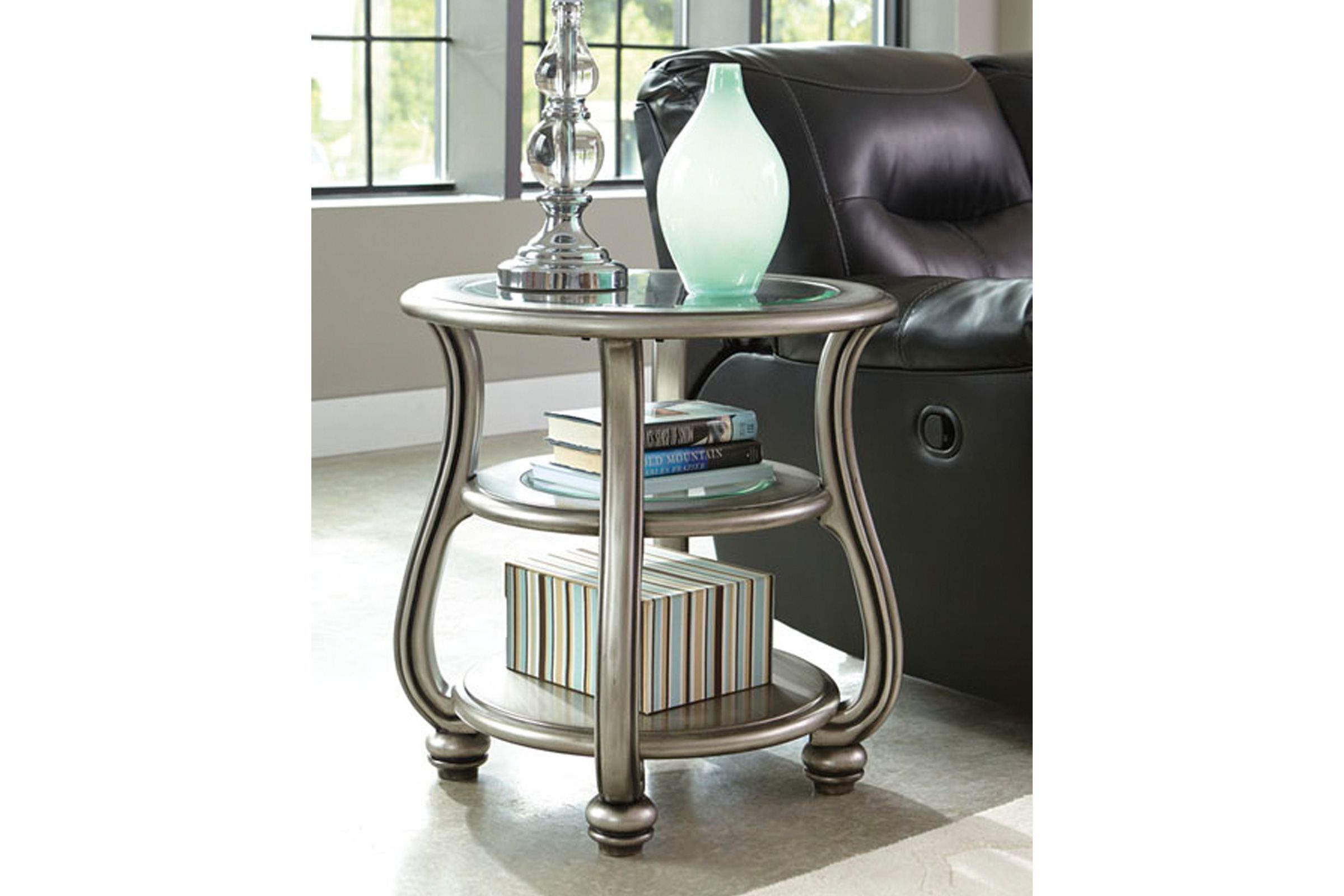 Coralayne Round End Table In Silver Finish By Ashley At Gardner White Ashley Furniture End Tables Furniture [ 1600 x 2400 Pixel ]