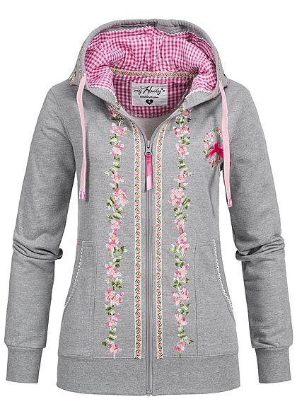 ac1932d11be85e Hailys Damen Trachten Sweat Jacke Zip Hoodie Stickerei 2 Taschen hell grau  rosa - 77onlineshop