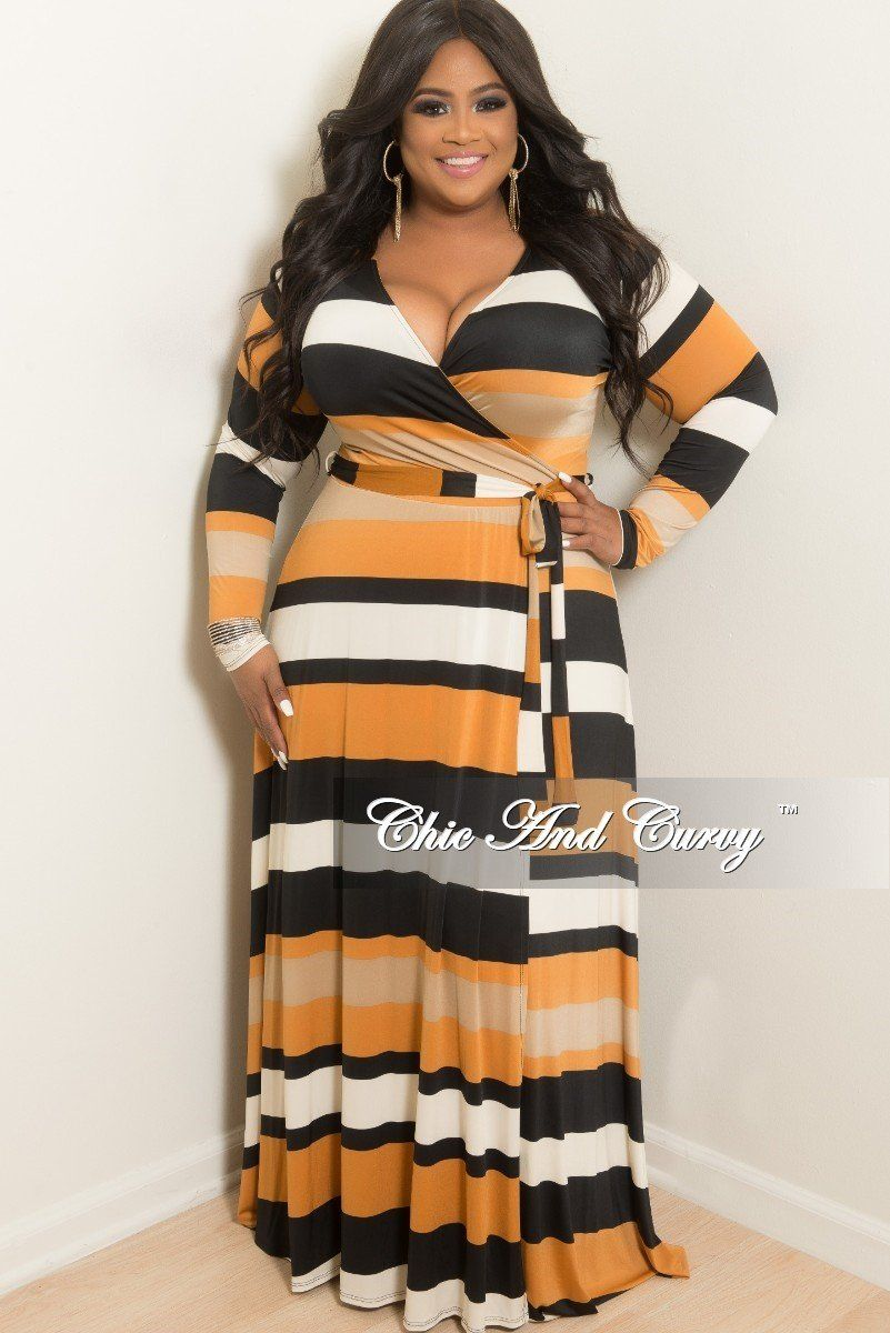 1dae2697052 Plus Size Long Wrap Dress with Attached Tie in Rust Black Ivory – Chic And  Curvy