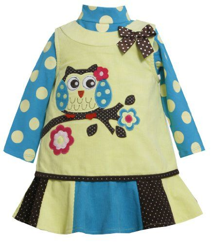 Bonnie Jean Little Girls Lime Corduroy Owl Jumper Set