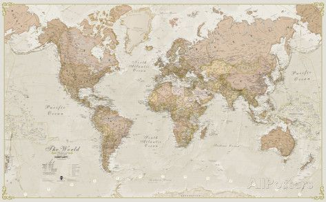 World Map- Antique Marks place, Big and Walls - copy large world map for the wall