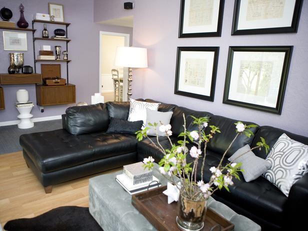 Purple Living Room With Black Leather Sofa And Plush Ottoman Designers Portfolio HGTV